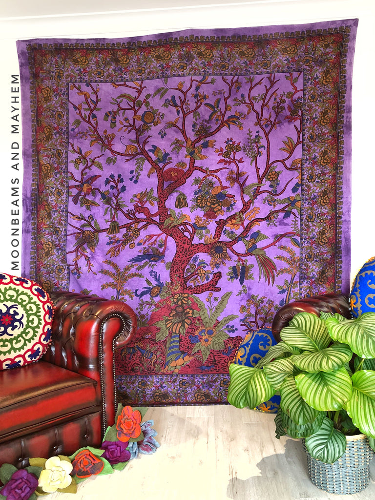 DIVINE NEW PURPLE DOUBLE SIZE ETHNIC INDIAN TREE OF LIFE WALL HANGING / TAPESTRY - MoonbeamsandMayhem