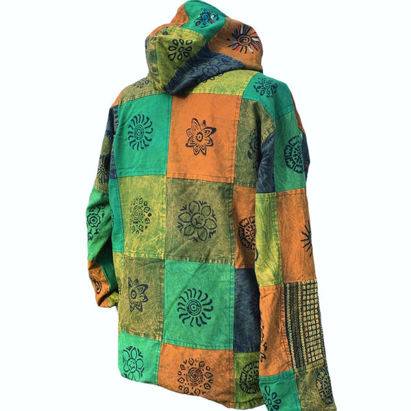 FABULOUS GREEN PATCHWORK WINTER COAT SIZE 10 12 14 18 XL - MoonbeamsandMayhem