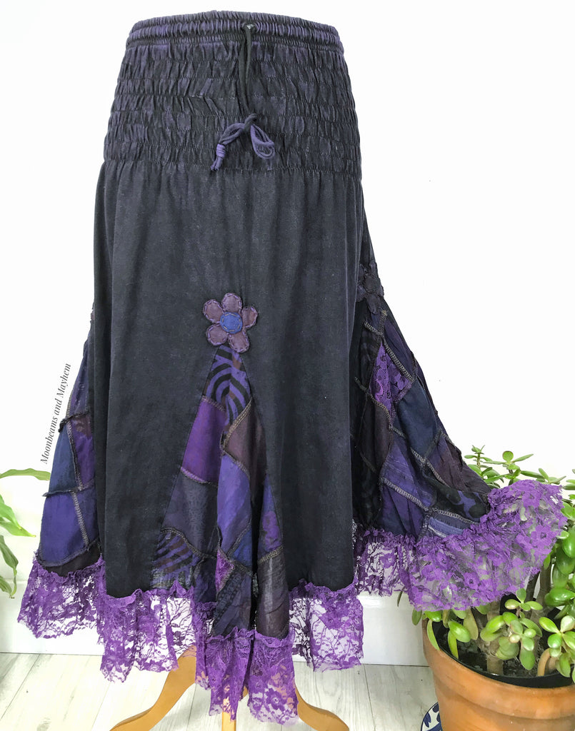 WILD PURPLE COTTON & LACE 'LYLIA' SKIRT S-XXL
