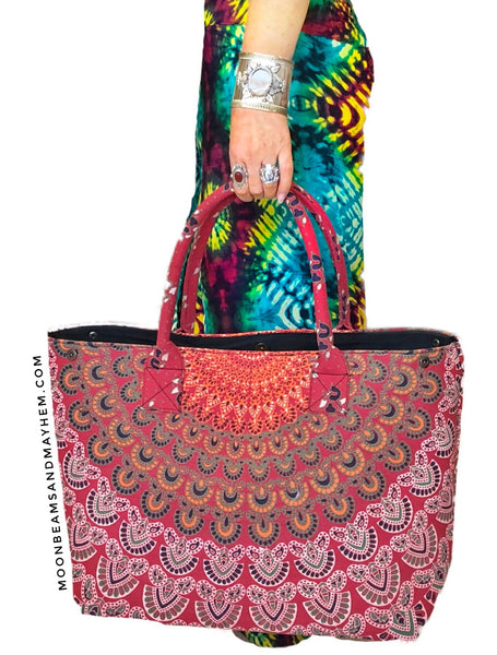 BEAUTIFUL LARGE RED 'AFTERGLOW' TOTE - MoonbeamsandMayhem