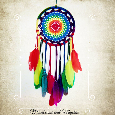 TRULY DELICIOUS LARGE RAINBOW FEATHER CROCHET DREAM CATCHER