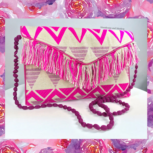 DELIGHTFUL PINK 'IBIZA'  FRINGE CLUTCH / EVENING BAG - MoonbeamsandMayhem