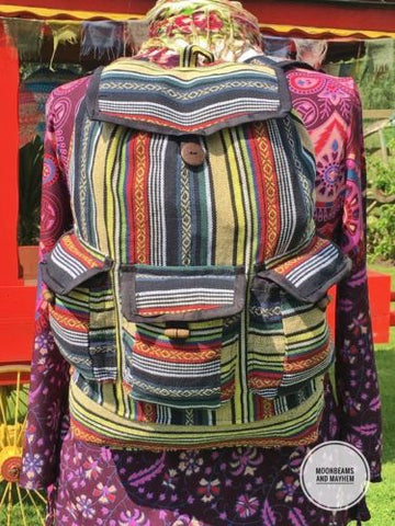 SUPERB LARGE BOHEMIAN / HIPPIE AZTEC RUCKSACK BACKPACK - MoonbeamsandMayhem