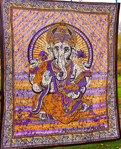 DIVINE NEW PURPLE GANESH DOUBLE THROW WALL HANGING - MoonbeamsandMayhem