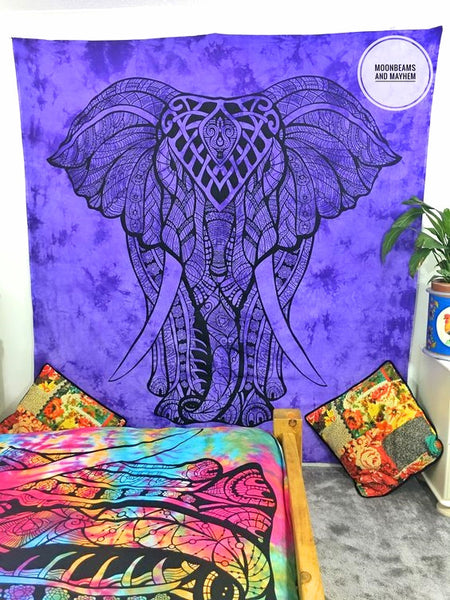 DIVINE NEW PURPLE DOUBLE SIZE ETHNIC INDIAN ELEPHANT WALL HANGING / TAPESTRY - MoonbeamsandMayhem