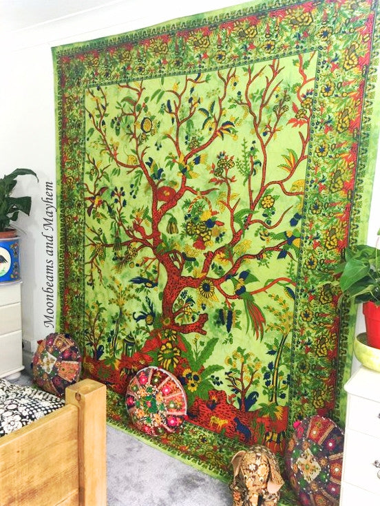 DIVINE NEW DOUBLE SIZE GREEN ETHNIC INDIAN TREE OF LIFE WALL HANGING / TAPESTRY - MoonbeamsandMayhem
