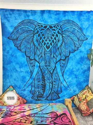 DIVINE NEW TURQUOISE DOUBLE SIZE WHITE ETHNIC INDIAN ELEPHANT WALL HANGING / TAPESTRY - MoonbeamsandMayhem