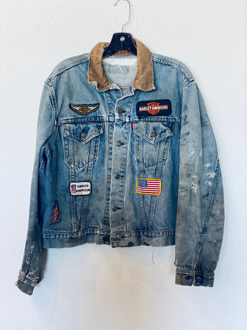 Vintage Moto Harley Patch Levis Denim Jacket
