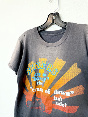 RARE The Crack of Dawn Isn't Safe Vintage Harley Tee