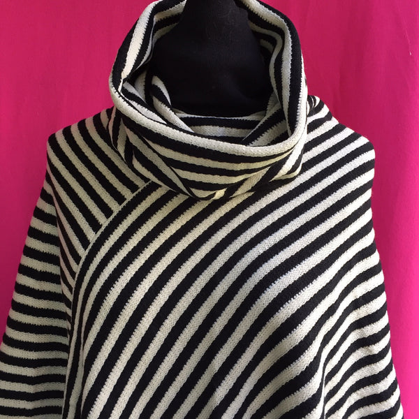 Striped Cowl Neck Poncho