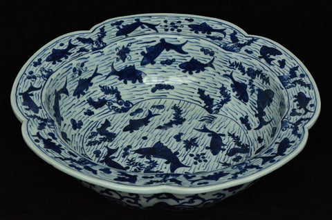 Fine Chinese Blue and White Basin Wanli Mark