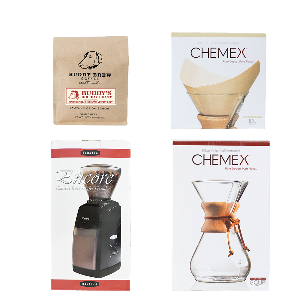 The Home Brewer Set -  2 Coffee + 1 Grinder + Chemex + Filters