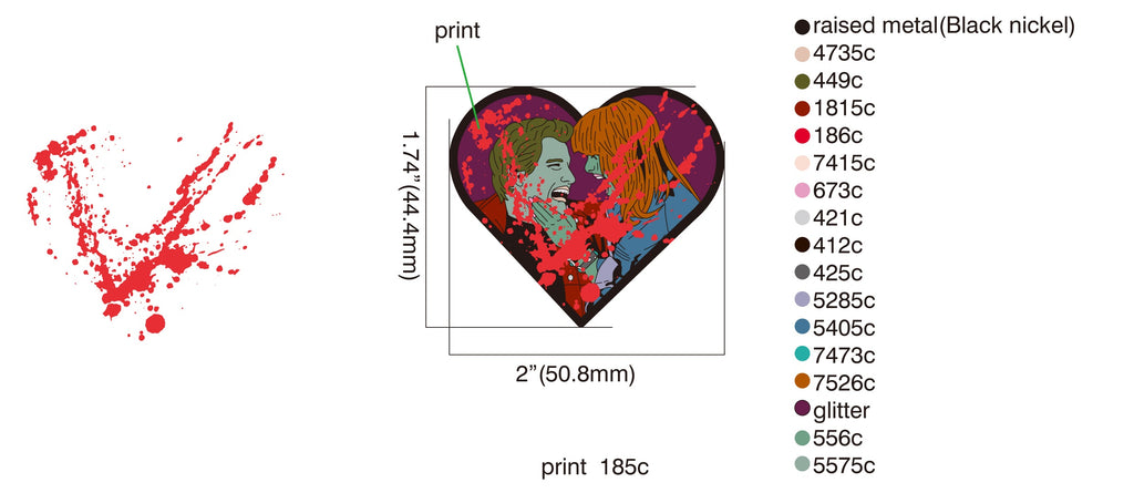 Return of the Living Dead 2 Zombie Lovers Pin *Preorder* Glitter Blood Splatter