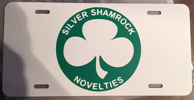 Silver Shamrock Novelties License Plate