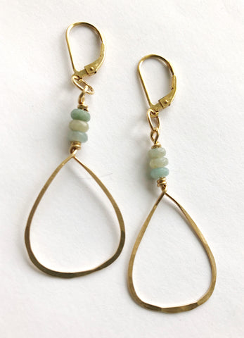 Amazonite Hoops in Gold