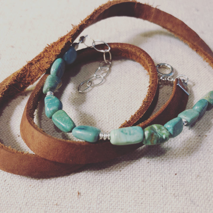 Green Turquoise Leather Wrap