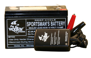 Battery & Charger (9 Amp hour battery and charger system w/light)