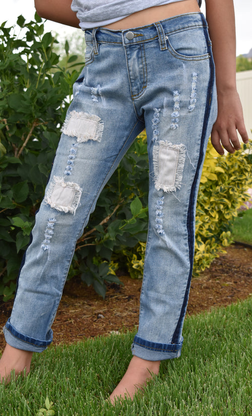 Girls Distressed Blue Jean