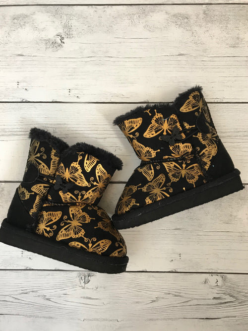 Butterfly Black Baby Boots