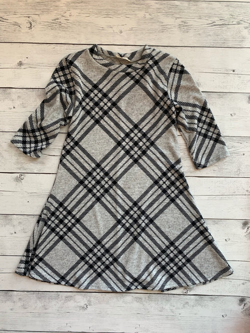 Girls Plaid Gray Dress