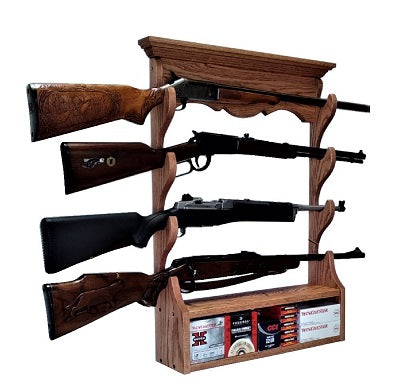 Oak 4 Place Wall Gun Rack by Gun Racks For Less