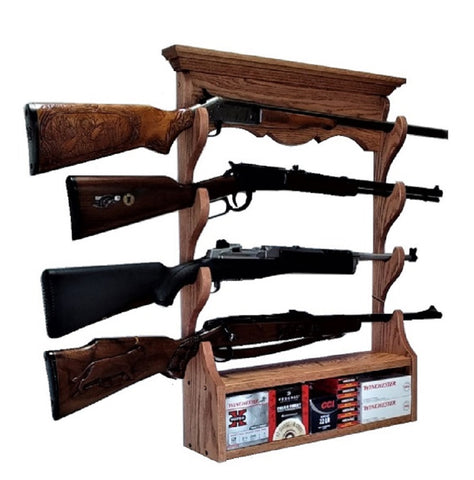 Oak Wooden Gun Rack 4 Place Rifle Shotgun Wall Display - Ammo Storage