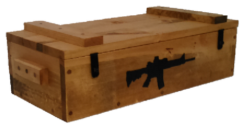 Rustic Wooden Ammo Box - Tactical Black Rifle Gun Accessories Storage Crate