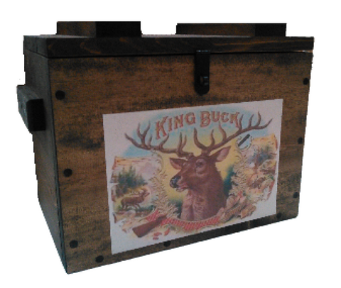 Rustic Wooden Ammo Box - Cartridge Gun Accessories Storage Crate - King Buck Deer