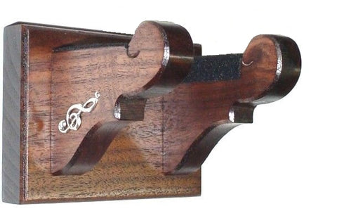 Walnut Wooden Guitar Hanger Classy Wall Mount Display with Accents