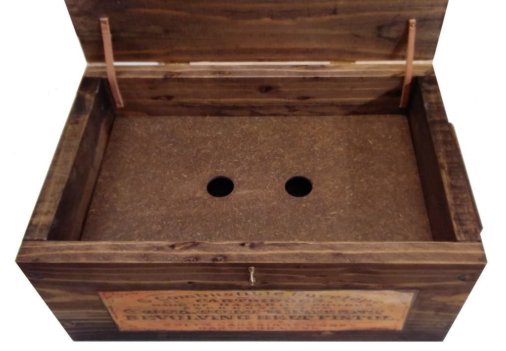 Vintage Style Reproduction Wooden Hunting Box Ammo Crate Pistol Safe