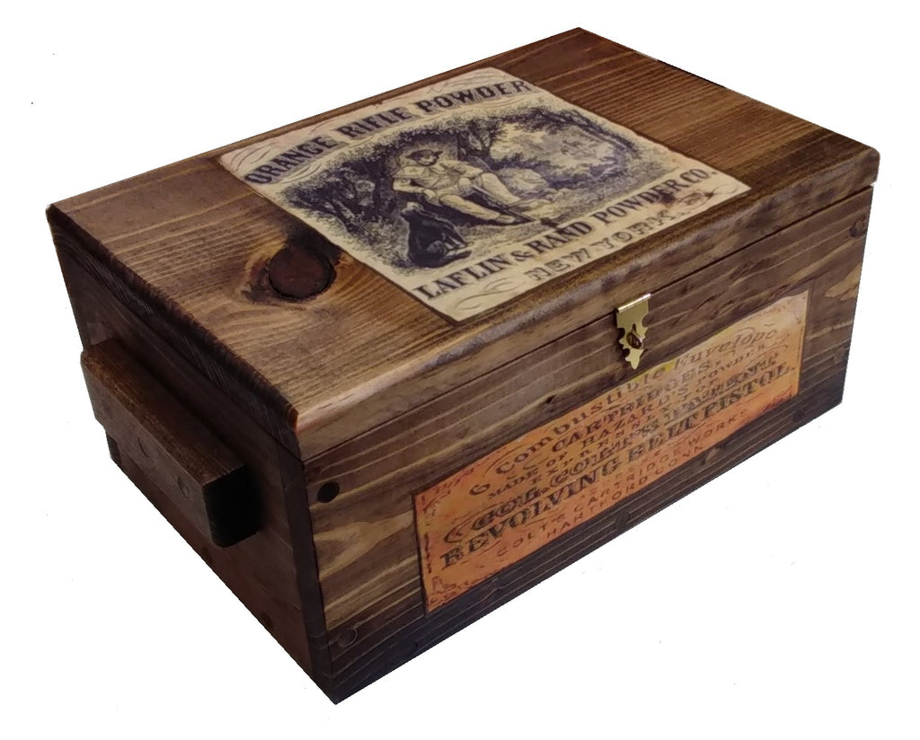 Vintage Style Wooden Hunting Box - Ammo Crate Pistol Safe with Gunpowder ads