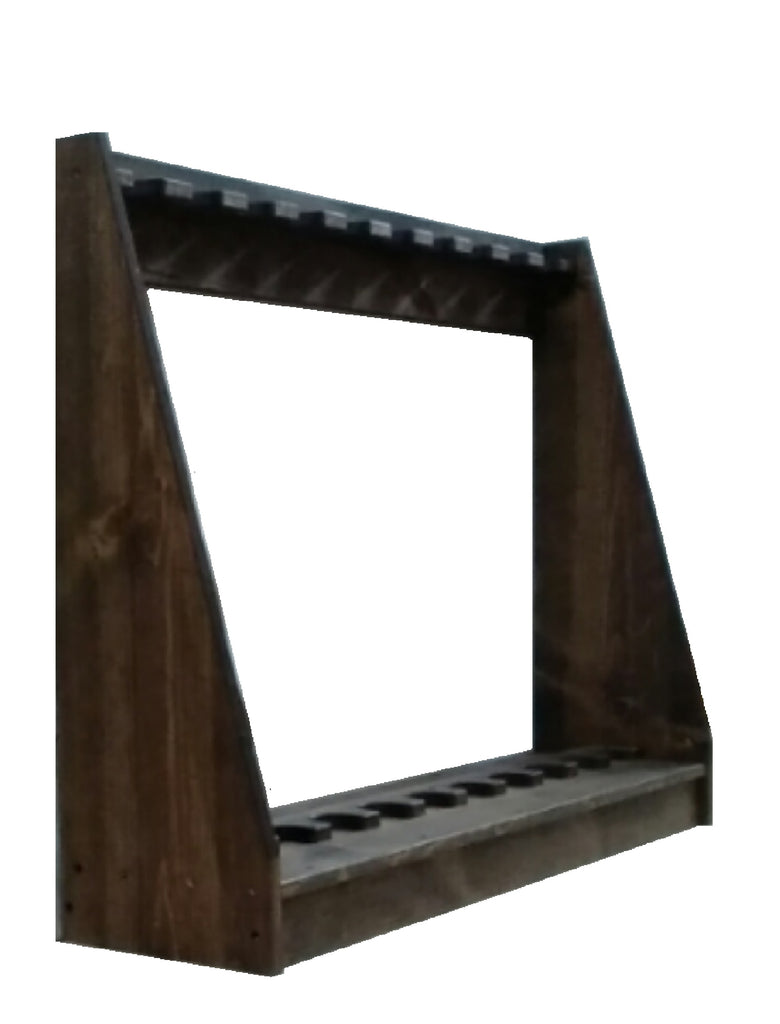Rustic Traditional Wooden Vertical Gun Rack 7 Place Long Gun Display