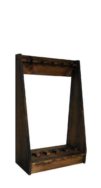 Rustic Pine Wooden Vertical Gun Rack 6 Place Long Gun Display