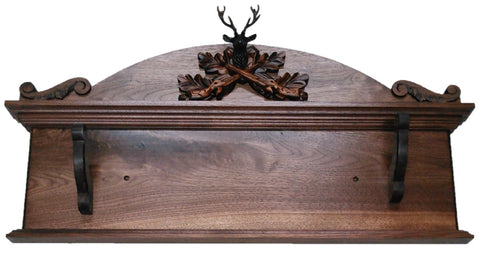 Black Forest Carved Wooden Deer Wall Gun Rack Antique Rifle Shotgun Display