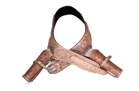 Western Tooled Double Leather Gun Holster .44/.45 Caliber - Tan