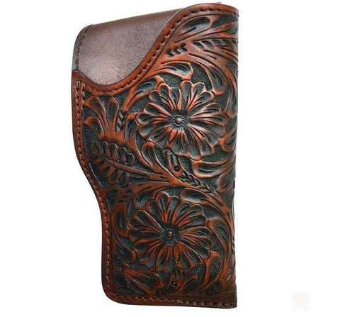 Hand Tooled Leather Right Hand Glock Revolver Holster - Brown