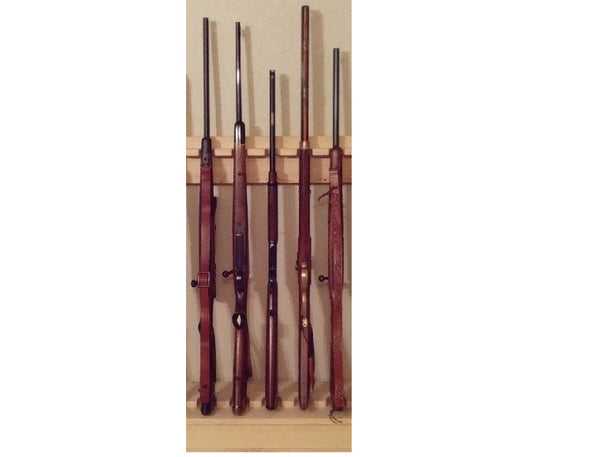 Traditional Pine Wooden Vertical Gun Rack 5 Place Long Gun Display