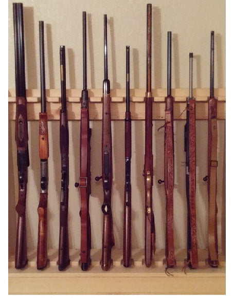 Rustic Traditional Wooden Vertical Gun Rack 10 Place Long Gun Display