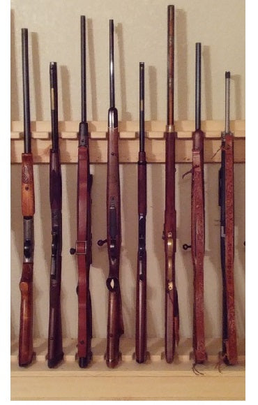 Light Rustic Traditional Wooden Vertical Gun Rack 8 Place Long Gun Display