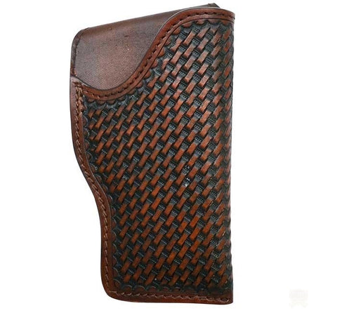 Hand Tooled Basket Weave Leather Right Hand Glock Revolver Holster - Brown
