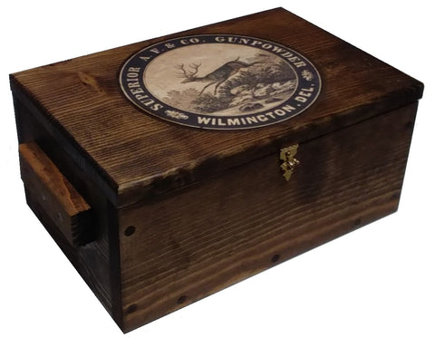 Vintage Style Wood Hunting Box - Gun Storage Ammo Crate Pistol Safe - Deer