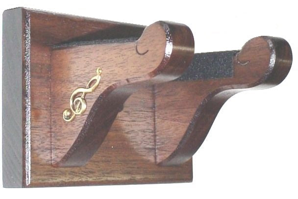 Walnut Wooden Banjo Hanger Wall Mount Display with Accents