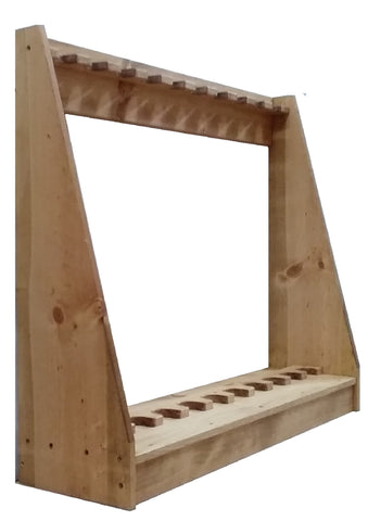 Light Rustic Traditional Wooden Vertical Gun Rack 12 Place Long Gun Display
