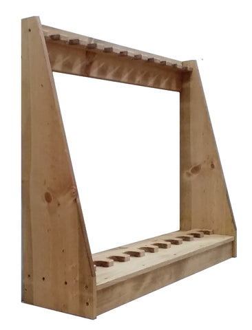 Light Rustic Traditional Wooden Vertical Gun Rack 7 Place Long Gun Display