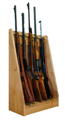 Light Rustic Pine Wooden Vertical Gun Rack 5 Place Long Gun Display