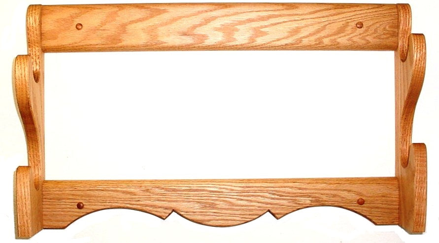 Oak Wooden Gun Rack 2 Place Rifle Shotgun Wall Mount Display