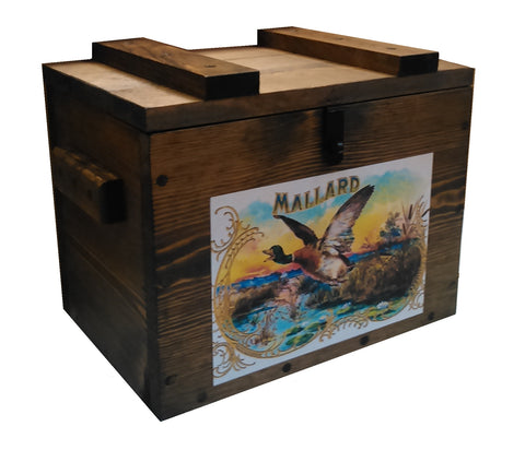 Rustic Wooden Ammo Box - Cartridge Gun Accessories Storage Crate - Mallard Duck