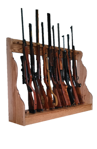 Oak Wooden Vertical Gun Rack 10 Place Long Gun Display