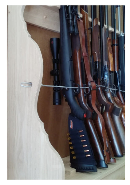 Oak Wooden Vertical Gun Rack 8 Place Long Gun Display