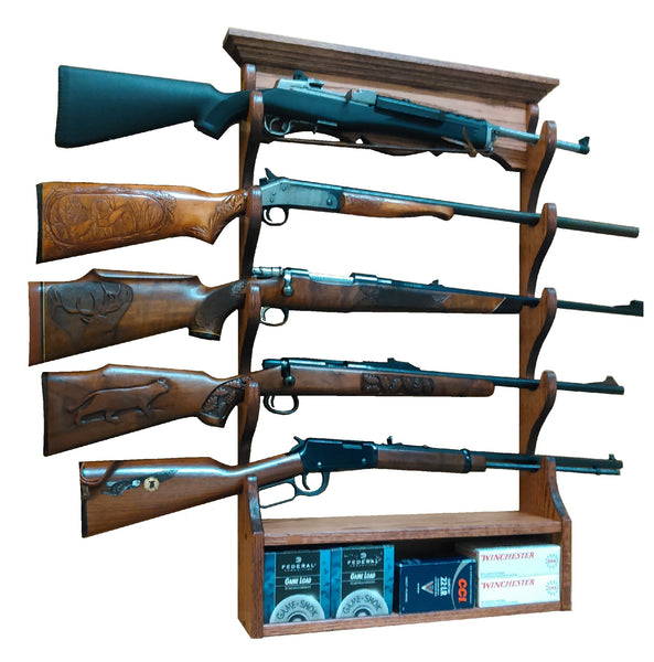Oak 5 Place Wall  Gun Rack by Gun Racks For Less